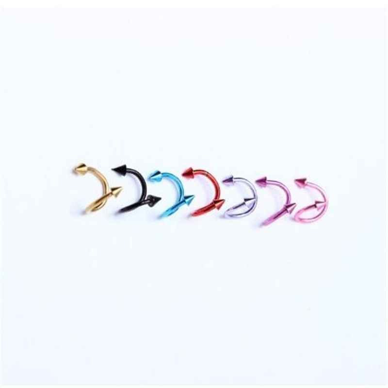 6 יח'\חבילה נירוסטה S סגנון ספייק Labret השפתיים לשון טבעות גבות עגיל האף טבעת פטמת סגירת גוף פירסינג תכשיטים