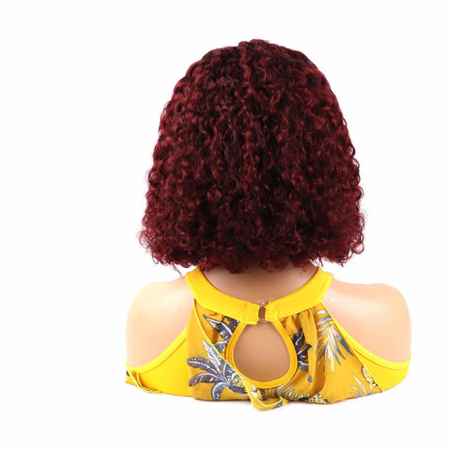Bling Haar 13X4 Lace Front Menselijk Haar Pruik Braziliaanse Kinky Krullend Bob Pruiken Met Baby Haar Voor Vrouwen bourgondië 99J 1B 150% Dichtheid