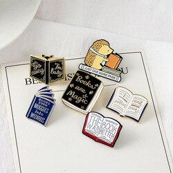Креативная черная брошь в виде книги ежика, Мультяшные украшения, булавки на лацкан, значок на рюкзак, джинсы, рубашку, броши в стиле панк, ювелирные изделия для детей, подарки