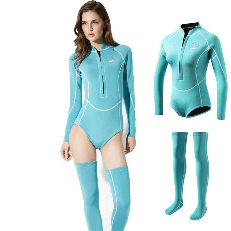Dames Rash Guards 2mm Neopreen Wetsuit Vrouwen Badpak Duikuitrusting Zwemmen Surfen Spearfishing Pak Duiken Sokken