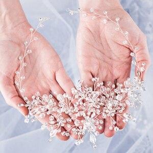 Image 3 - Strass Kralen Hoofdband Bruids Tiara Haaraccessoires Haarband Bruiloft Haar Sieraden Hoofddeksel Vrouwen Accessoires Tiara