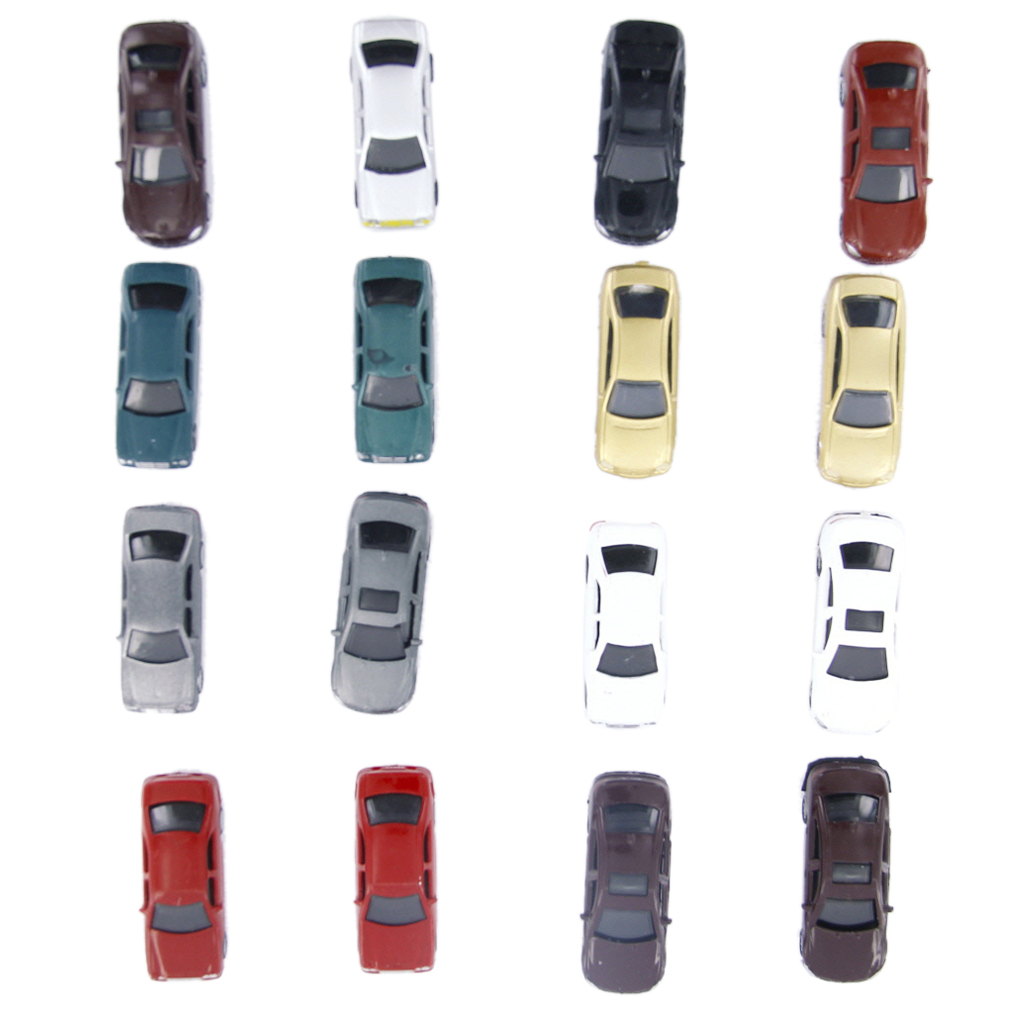 100Pcs Assorted Painted Model Cars For Building Train Layout Scene Decoration 1:100 HO Sacle