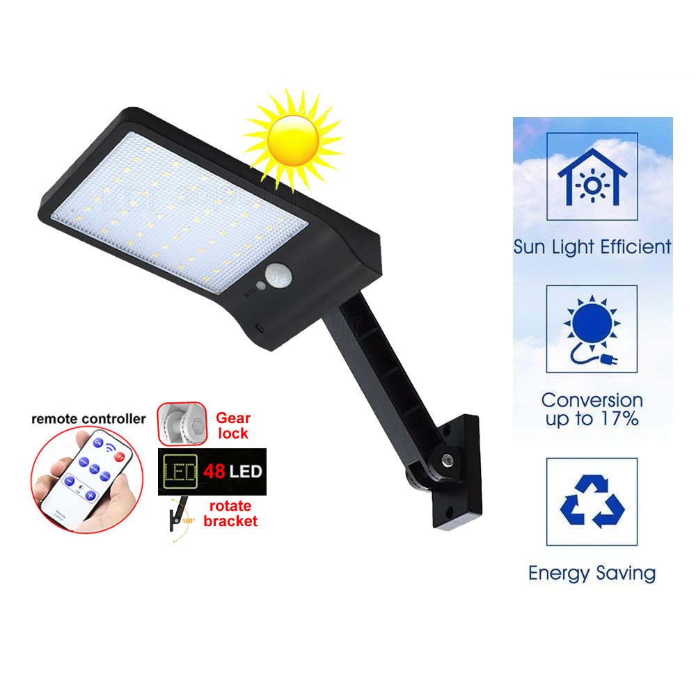 remote control rotate bracket solar street light 48 LED Solar Light Three Modes Black White Waterproof Outdoor Gear lock newest|Solar Lamps| |  - title=
