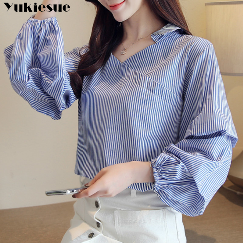 Elegant Turtleneck Blouse lantern Long Sleeve White stirped  Shirt Office Ladies Top Casual V neck Womens Blouses Plus size 1