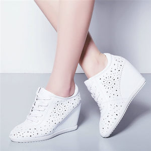 Image 2 - Trainers Women Breathable Genuine Leather Wedges High Heel Pumps Shoes Female Lace Up Summer Platform Ankle Boots Casual Shoes