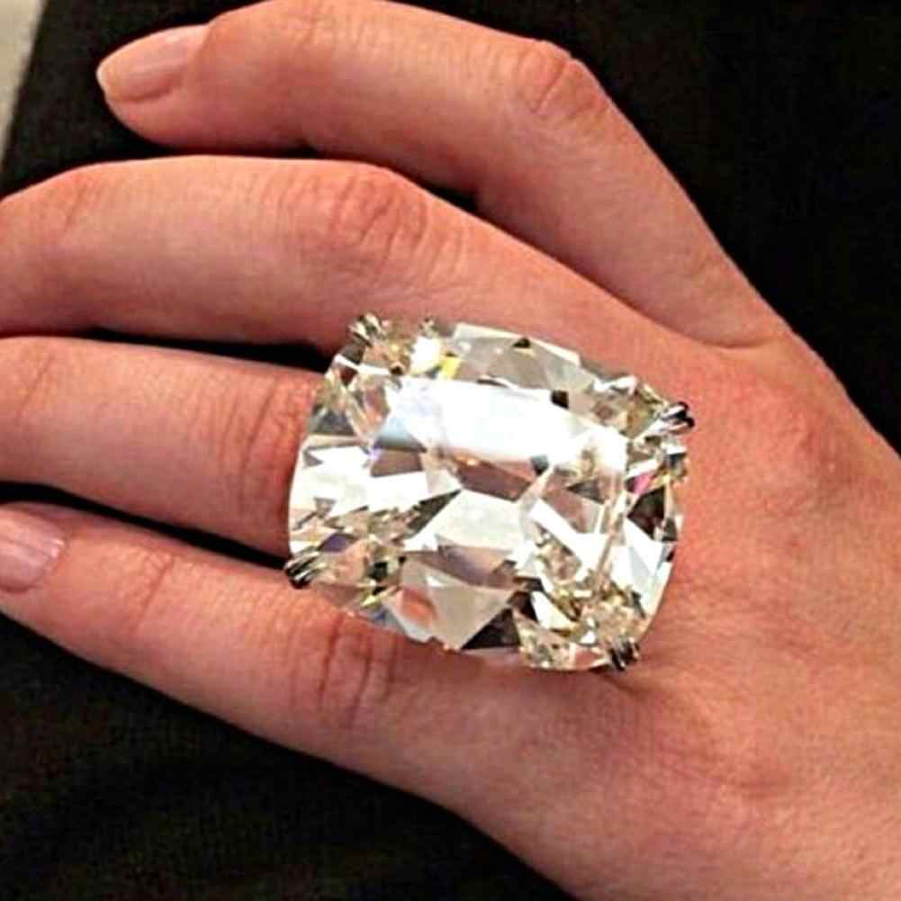 Large Square Cubic Zirconia Finger Ring Luxury Women Proposal Wedding Jewelry