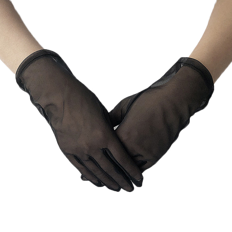 Women Sexy Lace Gloves Summer Spring Full Finger Anti-Uv Driving Party Gloves Lady Elastic Transparent Gloves Solid Black