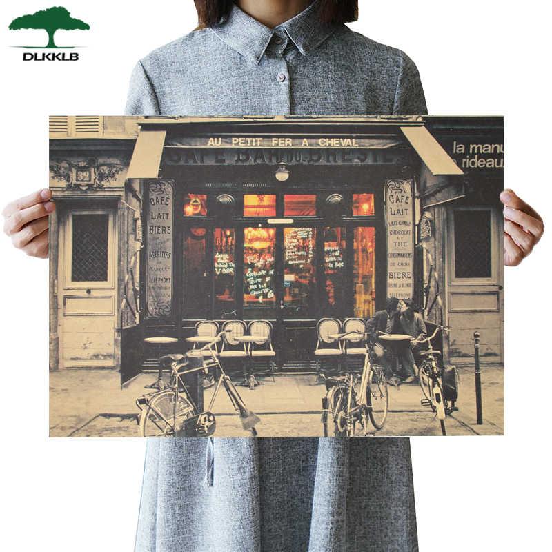 DLKKLB ภาพเก่า Retro โปสเตอร์ World War II VINTAGE Bar Cafe ตกแต่งภาพวาดที่สมจริง Art Home 51.5x36 ซม.สติ๊กเกอร์ติดผนัง