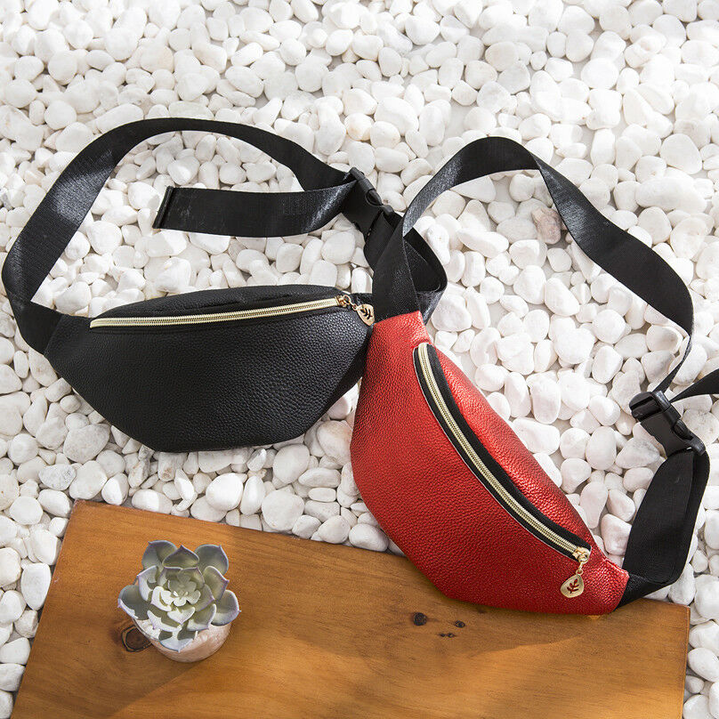 Fashion Waist Fanny Pack Women PU Leather Adjustable Belt Zipper Chest Waist Bag Casual Chest Bag Black Blue Gray Red