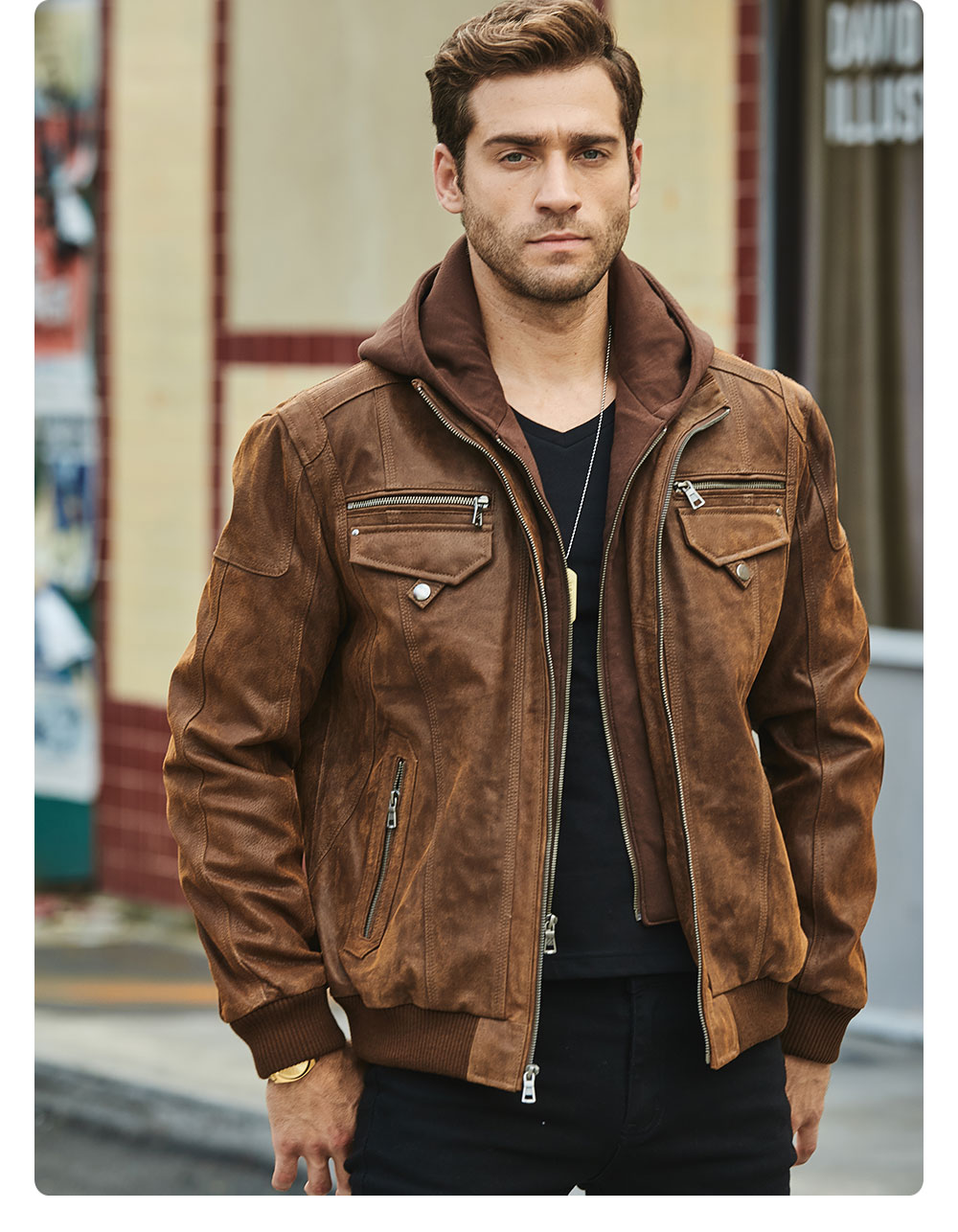 Hf110efd3c7e942b1a607fcd79cd6658e1 FLAVOR New Men's Real Leather Jacket with Removable Hood Brown Jacket Genuine Leather Warm Coat For Men