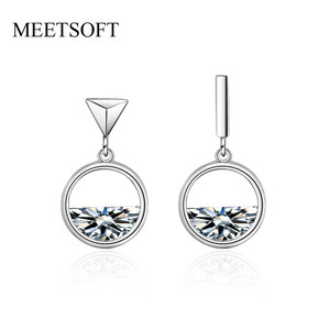 MEETSOFT 925 Silver Prevent Allergy Fashion Drop Earrings for Women Trendy Simple Hollow Out Circle Crystal Jewelry Gift(China)