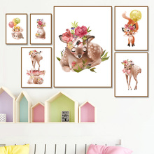 Cartoon Flower Balloon Fox Owl Deer Rabbit Wall Art Canvas Painting Nordic Posters And Prints Animal Pictures For Kids Room