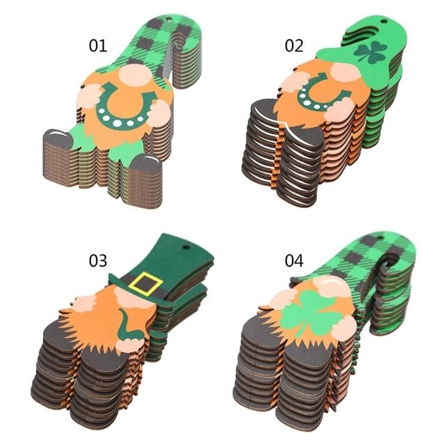10 Pcs Saint Patrick's Day Wooden Gnome Faceless Doll Hanging Pendant Ornament H55A 1