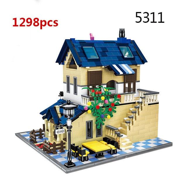 Городская архитектура вилла модель коттеджа Совместимость Legoingly друзья пляж хижина модульный дом деревенские строительные блоки детские игрушки - Цвет: 5311
