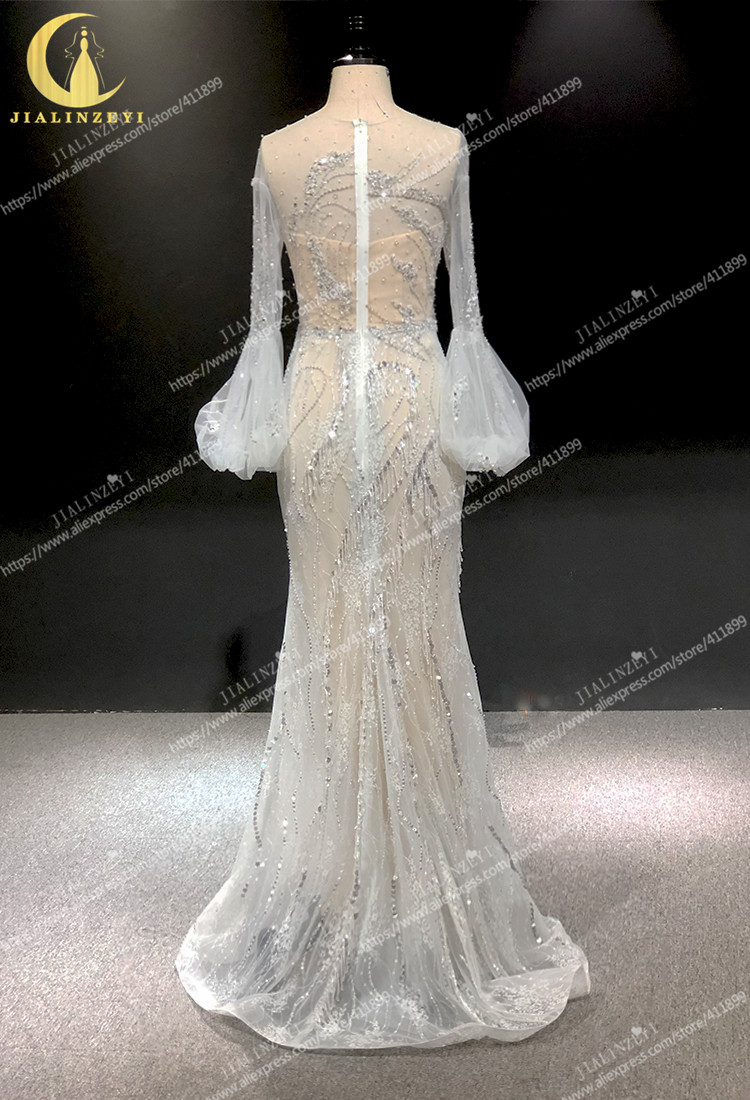 Image 3 - Rhine real Pictures long sleeves light grey with lace beads crystal mermaid sexy evening dress long formal dressesEvening Dresses   -