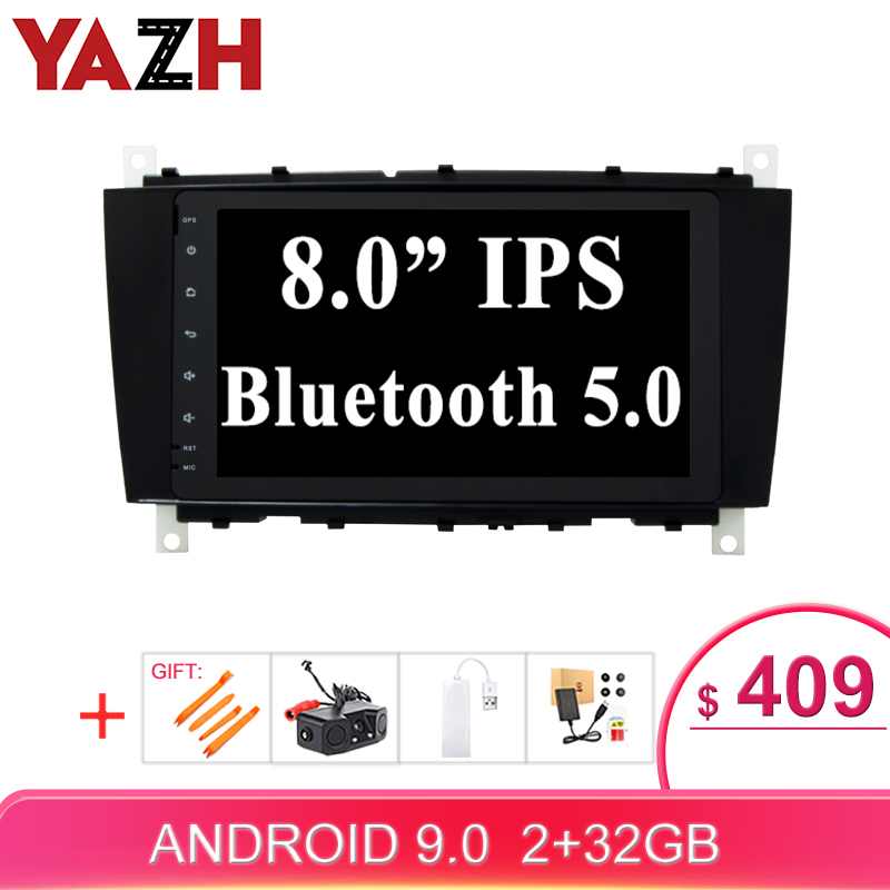 "YAZH 1 Din Auto <font><b>Radio</b></font> For C Class CLC CLS <font><b>W203</b></font> W209 C200 C350 CLK270 Sat <font><b>Navi</b></font> Stereo With 8.0"" IPS Display /Bluetooth 5.0/ SWC image"