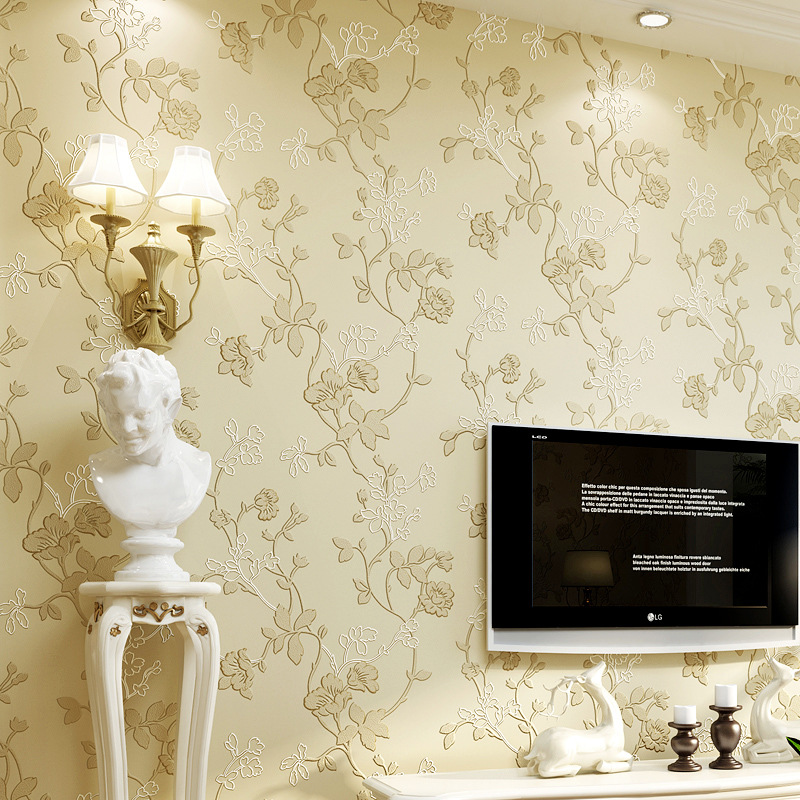 Pastoral Style Non-woven Wallpaper 3D Bump Stereo Bedroom Warm Living Room Romantic Pink Beauty Salon Shop Wallpaper