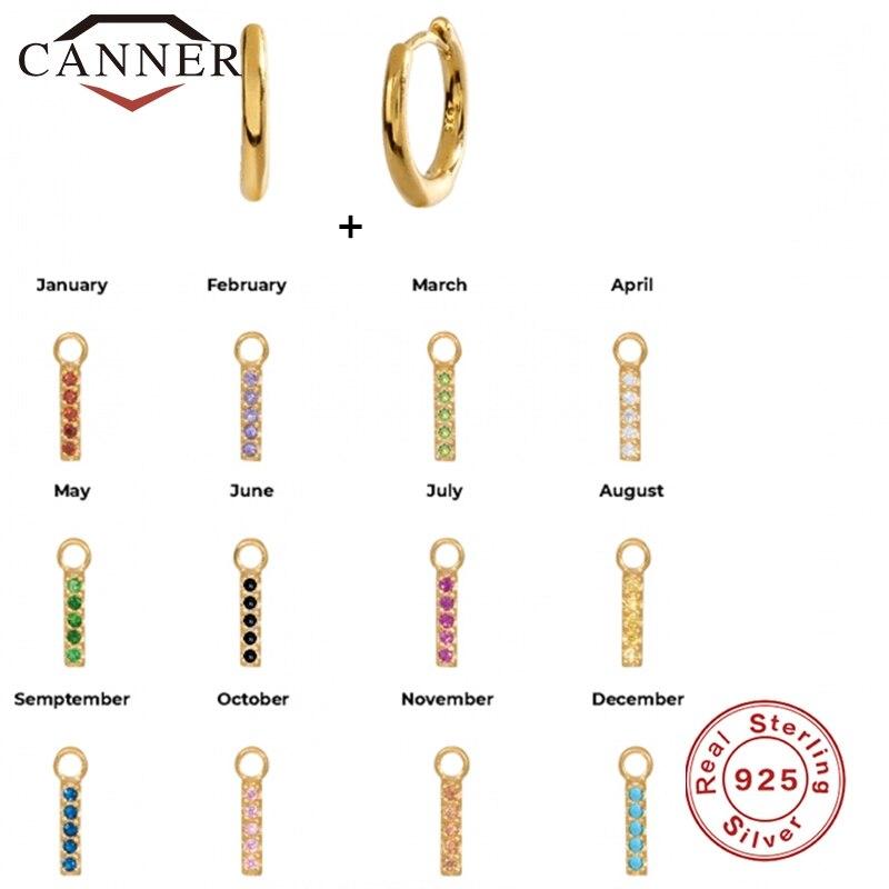 CANNER Real 925 Sterling Silver Drop Dangle Earrings for Women Minimalist Turquoise Zircon Birthstone Pendant Earings Jewelry