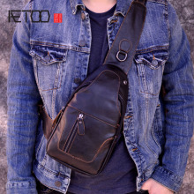 AETOO Male Bags Genuine Leather Shoulder Messenger Bag Men Sling Chest Pack Crossbody for Belt  bag