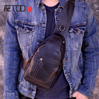 AETOO Male Bags Genuine Leather Shoulder Messenger Bag Men Sling Chest Pack Crossbody Bags for Men Belt Chest  Leather bag qibolu genuine leather mens sling bag single shoulder bag men chest pack messenger crossbody bag for man bolsas masculina mba37