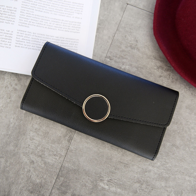 New Fashion Wallet Leather Women Wallet Long Pu Leather Purse Zipper Metal Circle Decor Wallets Female Hasp Coin Purse Clutch