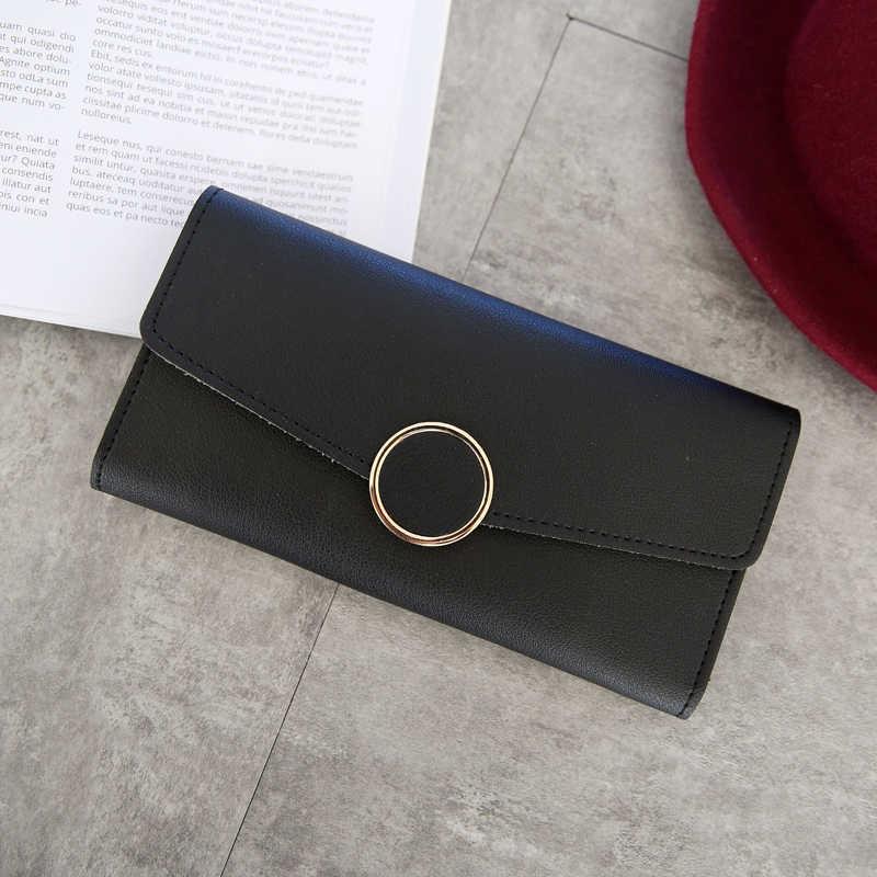 Nueva moda Cartera de cuero para mujer cartera larga de cuero Pu monedero cremallera Metal círculo carteras de decoración femenina cerrojo monedero embrague