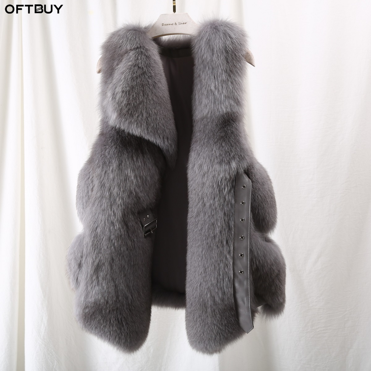 OFTBUY 2019 Real Fox Fur Sleeveless Vest Women Winter Jacket V-neck Natural Fur Coat Thick Warm Sheepskin Belt Streetwear New