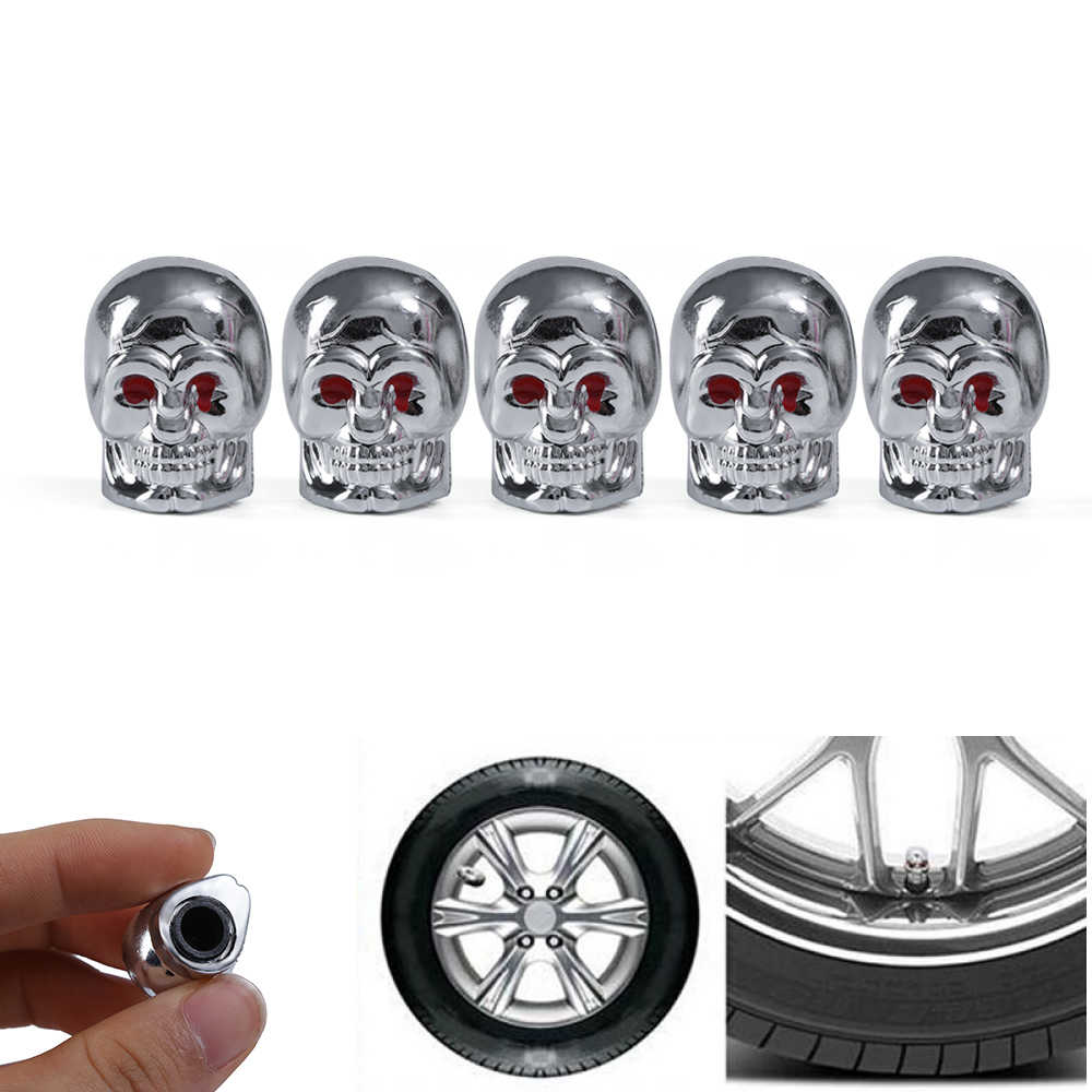 2PC Red Eyes Evil Skull Rubber Silver Tyre Tire Air Valve Stem Dust Caps For Car Bike Truck Automobiles Wheels Accessories