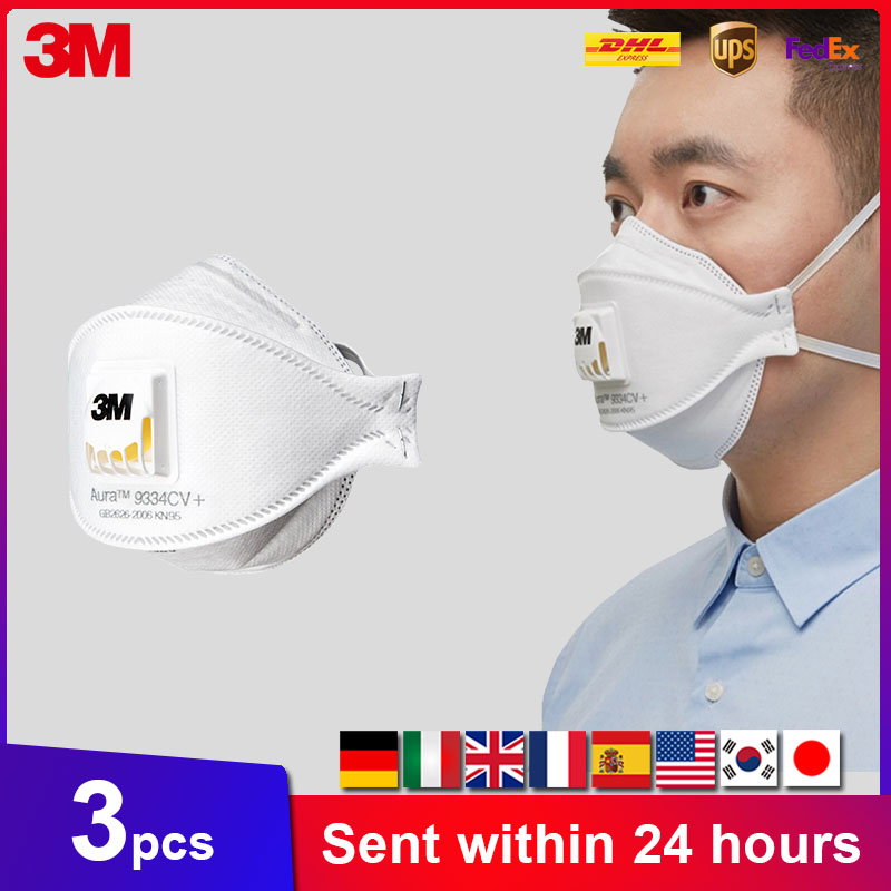 3M Aura Mask 3pcs/Box 9332 9334 9334CV Dust Mouth Masks Protective Filter  Haze Dust-proof Anti-fog Safety Face Mask