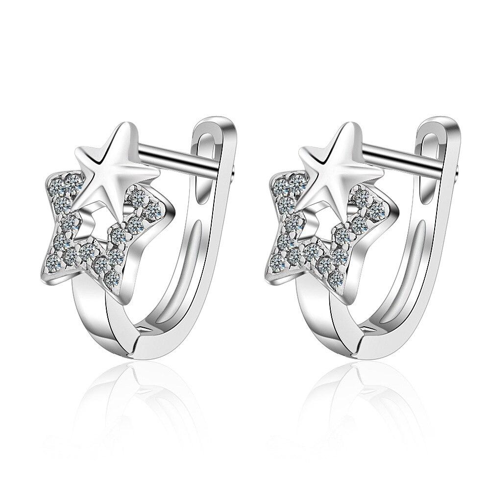 925 Sterling Silver Star Earrings Crystal Earrings For Women New Girl Fashion Korea Silver Jewelry 2020