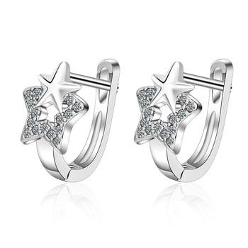 925 Sterling Silver Star Earrings Crystal For Women New Girl Fashion Korea Jewelry 2020 - discount item  50% OFF Fine Jewelry