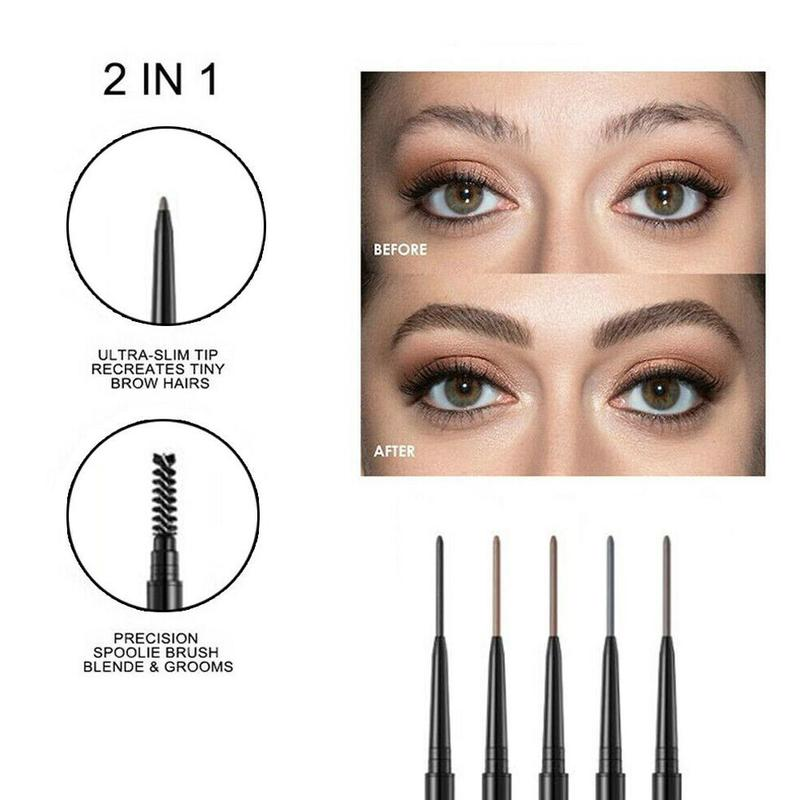 1 Pcs Very Fine Double Headed <font><b>Eyebrow</b></font> Pencil Waterproof Long Lasting No Blooming Black Eye Brow <font><b>Pen</b></font> Natural <font><b>Tatoo</b></font> Makeup Tint image