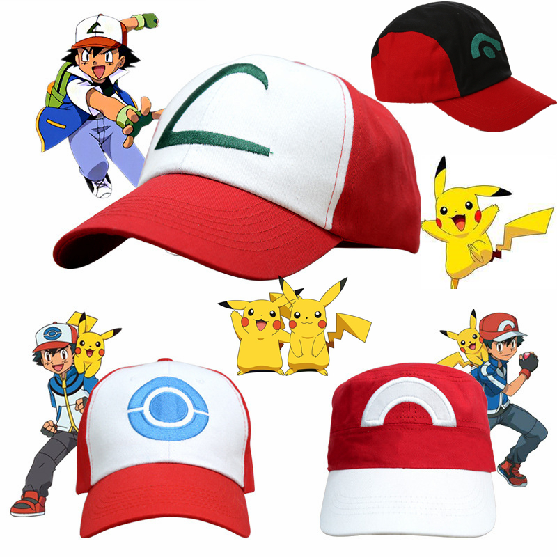 Anime Pokemon Pikachu Cosplay Hat Pocket Monster Ash Ketchum Demo Hats Canvas Baseball Cap Kids Adult Props Adjustable