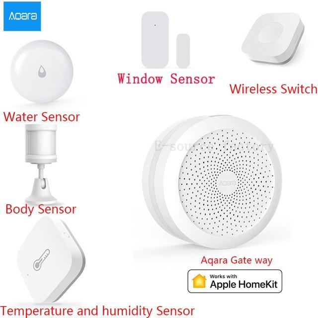 AQARA חכם בית ערכות Gateway Hub דלת חלון חיישן אדם גוף אלחוטי מתג לחות מים חיישן עבור אפל Homekit