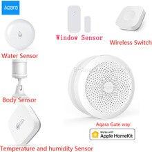 AQARA Smart Home, Casa Intelligente Kit Gateway Hub Porta Finestra del Sensore Del Corpo Umano Senza Fili Interruttore di Umidità Sensore Acqua Per Apple Homekit