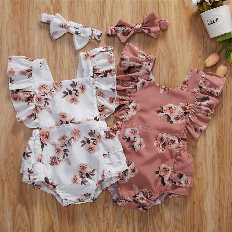 Toddler Baby Girls Floral Ruffles Romper Bodysuits Jumpsuits With Headband 2020 Summer Boho Beach Holiday Casual Cloyhing 0-24M