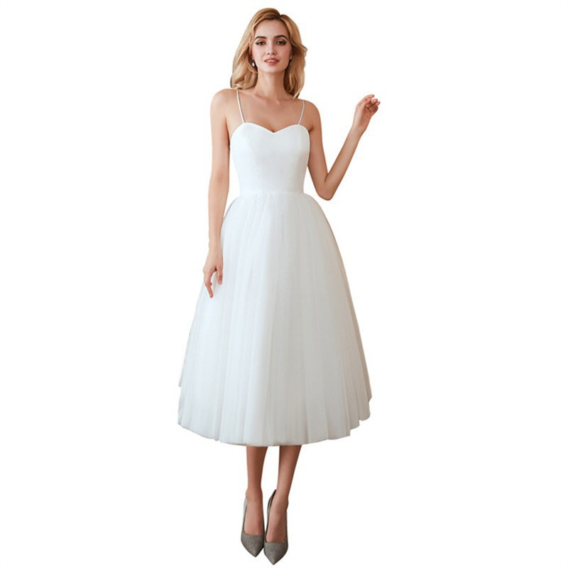 Cheap Simple White Ivory A Line Sweetheart Spaghetti Strap Netting Tea-length Bridal Gown Wedding Dresses Plus Size Lace Up Back
