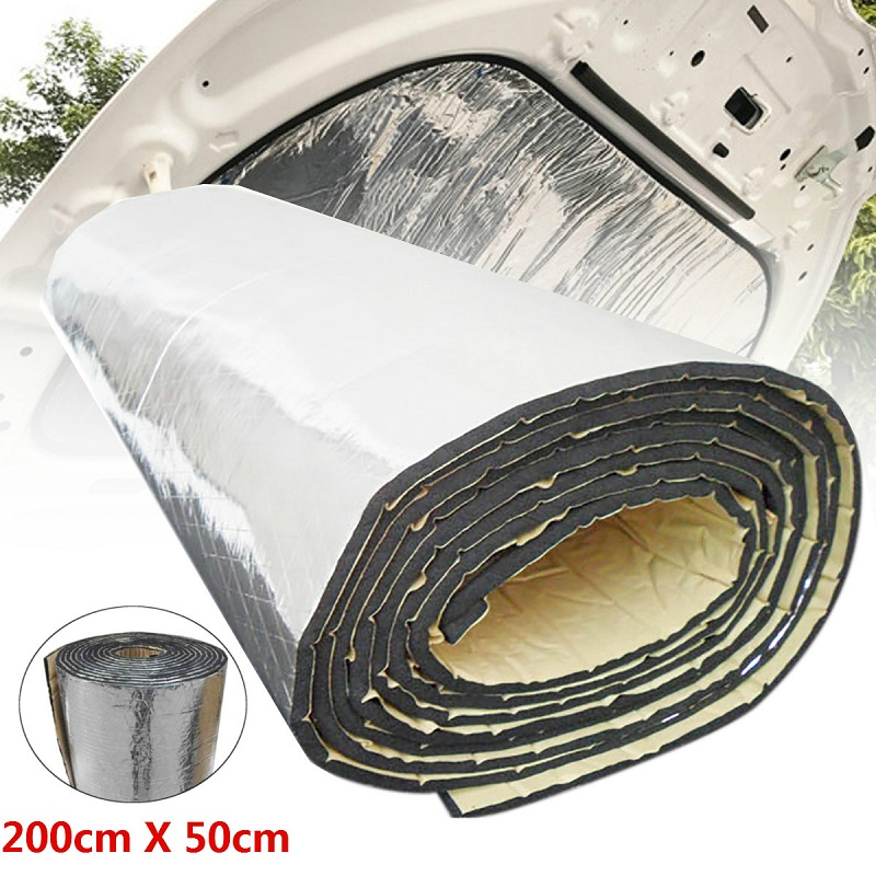 200cmx50cm 5mm/7mm/10mm/15mm/20mm/25mm/30mm Deadening Aluminum Foil Mat Car Sound Heat Insulation Cotton Hood Engine Firewall