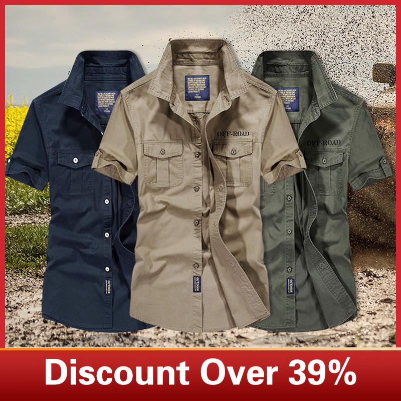 Men Shirt Casual Slim Fit Embroidery Military Pure Color Pocket Short Sleeve Shirts Mens Dress Shirts Camisas Masculina C0603