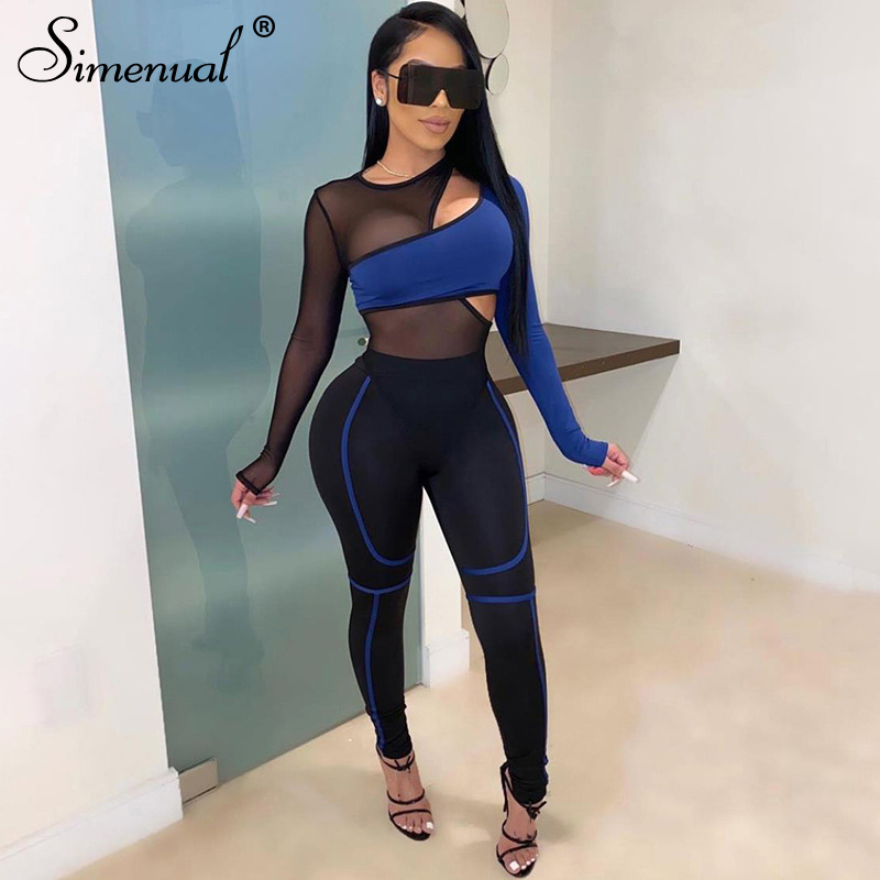Simenual Sporty Mesh Patchwork Matching Sets Women Transparent Casual Fashion 2 Piece Outfits Long Sleeve Bodysuit And Pants Set