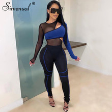 Simenual Sporty Mesh Patchwork Matching Sets Women Transparent Casual Fashion 2 Piece Outfits Long Sleeve Bodysuit And Pants Set(China)
