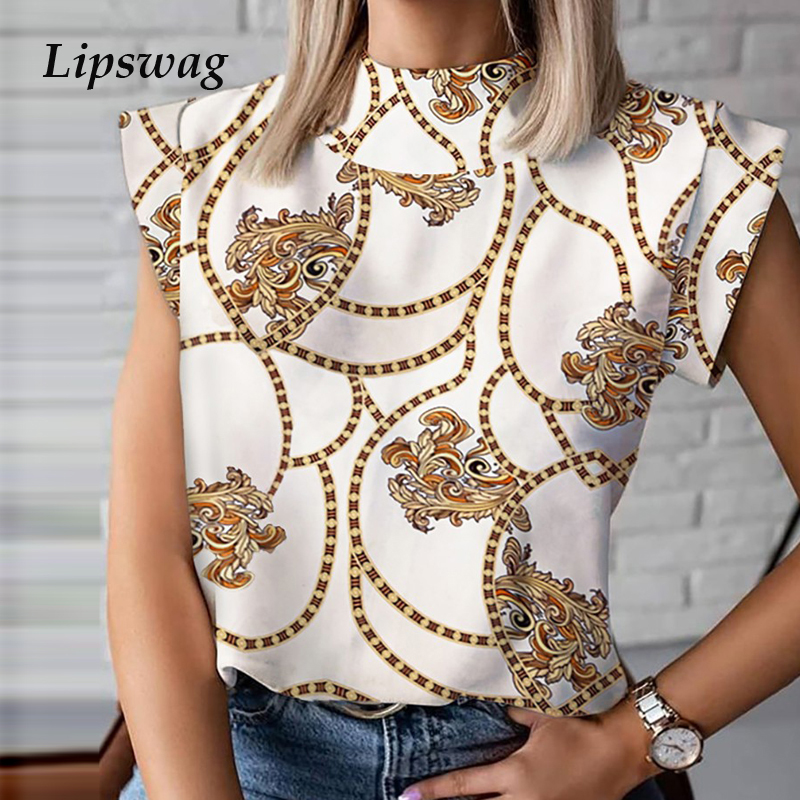 Women Elegant Chain Print Blouse Shirts New Summer Casual Stand Neck Pullovers Tops Lady 2XL Fashion Cute Eye Short Sleeve Blusa