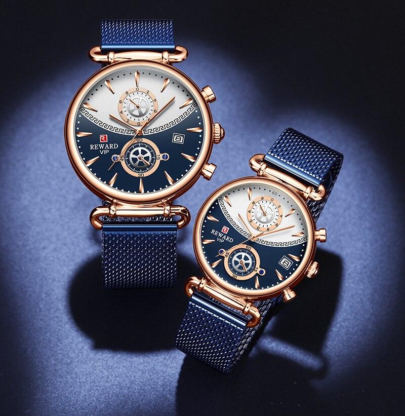 REWARD Couple Watches Luxury Fashion Casual  Quartz Men Watches Male Wristwatches Clock  Homme часы женские Top Brand Reloj
