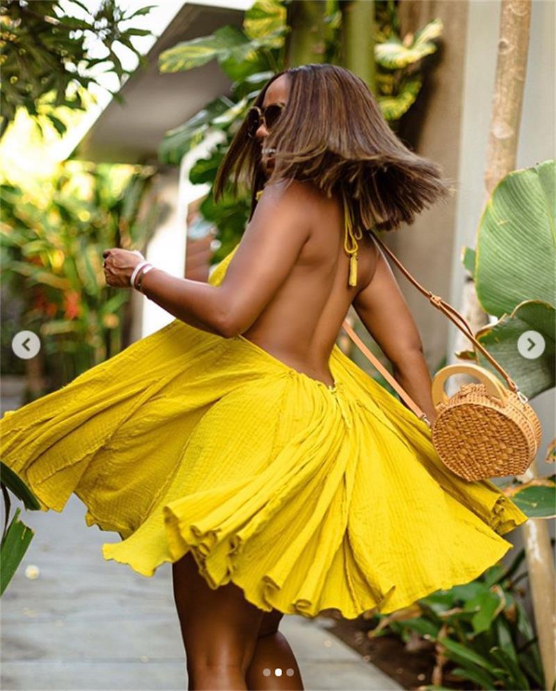 2020 New Hot Vestidos Fashion Women Clothing Summer Sexy Dress Yellow Sling Sleeveless Mini Short Dresses Woman Party Night|Dresses| - AliExpress