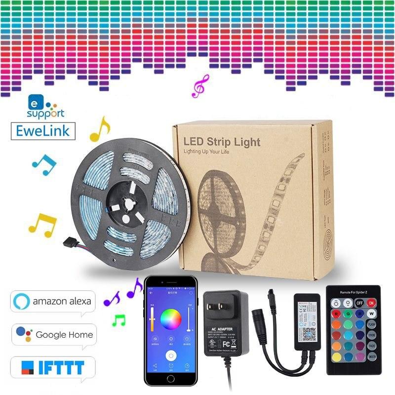 EWeLink casa inteligente RGB fita tira CONDUZIDA luz automação 5M Wi-fi RGB tira Flexível luz de trabalho à prova d' água com Alexa inicial do Google