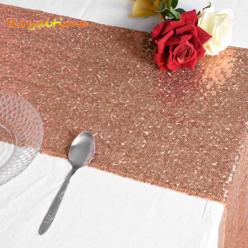 12x72 12x108 Sparkly Rose Gold Silver Navy Pink Red Table Runners for Wedding Party Christmas Decoration