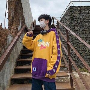 Image 5 - Singleroad hoodies de inverno dos homens 2020 velo amarelo hoodie moletom masculino hip hop retalhos harajuku japonês streetwear feminino
