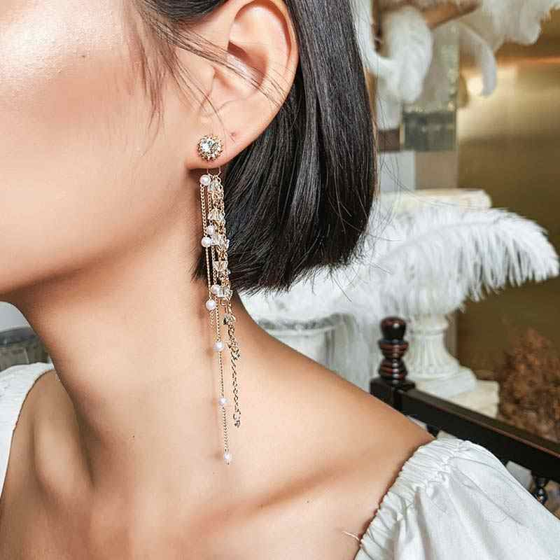 Luxury Shining Women Party Dangle Jewelry Gold Silver Color Gift Long Rhinestone Pearl Fashion Drop Geometric Tassel Earring