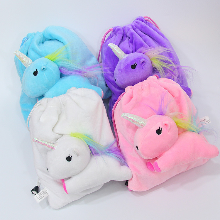 21x19cm Cartoon Unicorn Creative Drawstring Draw Pocket Wallet Fashion Pen Storage Bag Plush Coin Purse Stuffed Animals Handbag