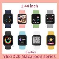 20Pcs Bijgewerkte D20/Y68 Smartwatch Macaron Kleuren Sport Smart Horloge Zet Foto Slaap Fitness Tracker Bericht Herinnering 1.44 inch